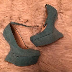 Shoes - Heelless teal platforms